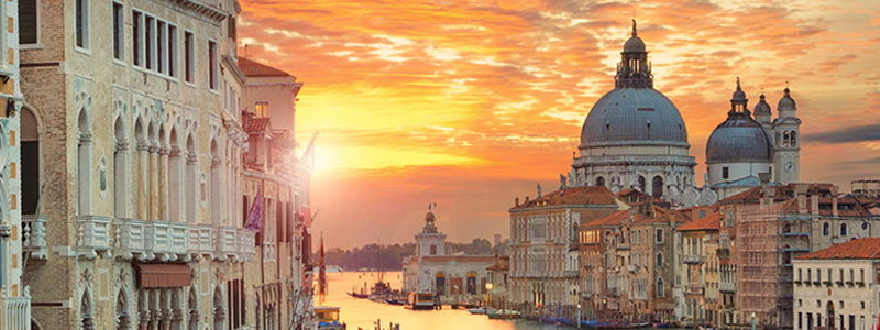 Venezia panorama al tramonto
