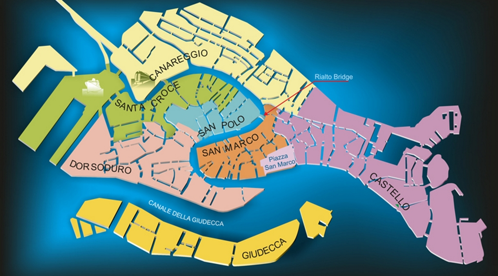 mappa sestieri venezia 3 giorni